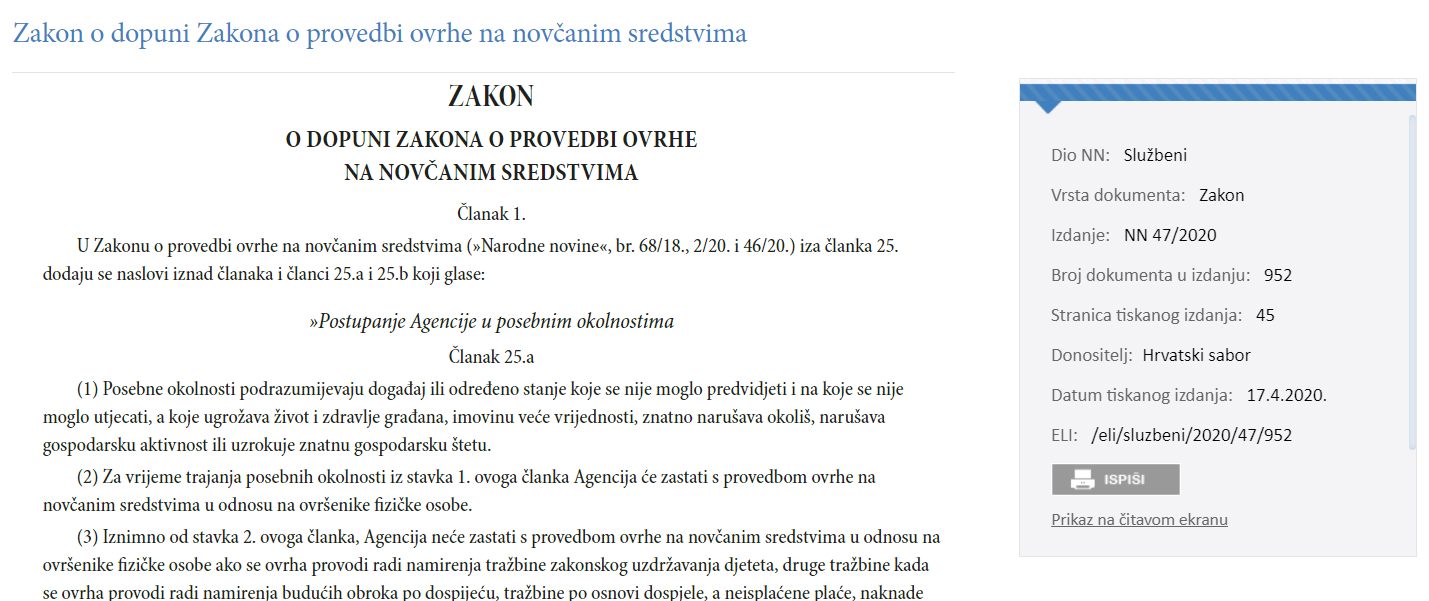 New Croatian Corona-Related Measures for the Enforcement Proceedings