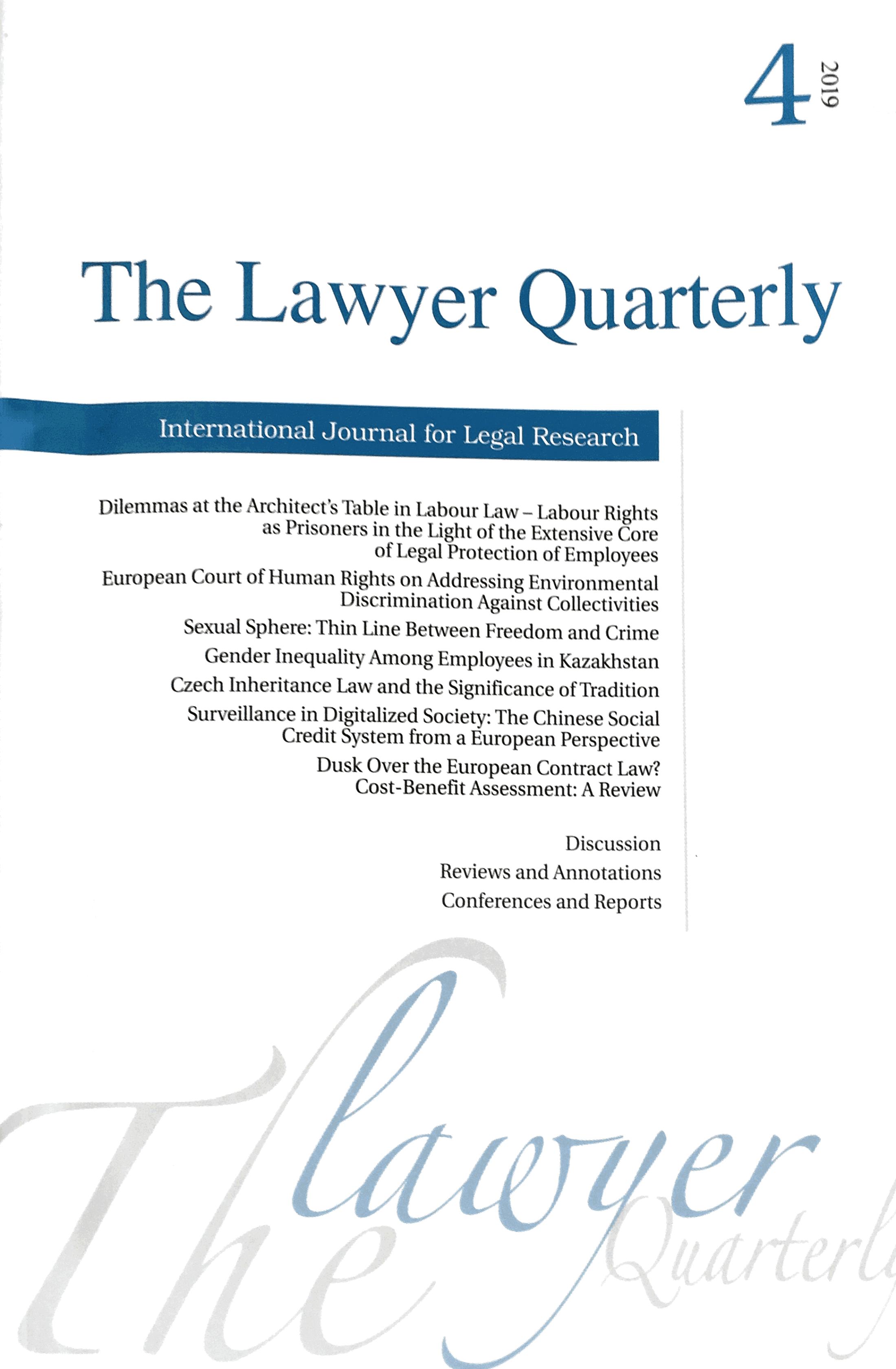 Information about PSEFS published in The Lawyer Quarterly
